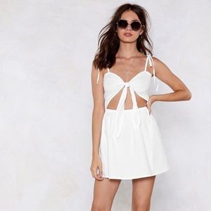 Nasty Gal White Tie Cut Out Mini Dress